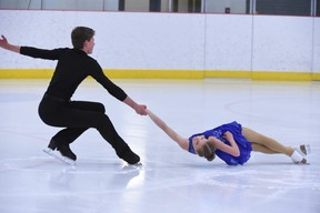 Cassidy Tutt (12) And Caleb Hovelan (16) perform the death spiral