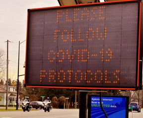 Norfolk County posted electronic signage on the major approaches to Port Dover to discourage motorcycle riders from travelling to Port Dover for the most recent Friday the 13th motorcycle rally. Monte Sonnenberg/Postmedia