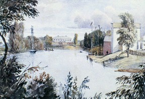 The Thames River, looking east from the lower bend, Barracks grounds (Tecumseh Park) in the background. The painting dates from 1838. John Rhodes image