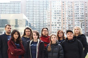 Beze Gray )front right) is one in a group of seven young people arguing provincial emissions-target reductions in 2018 violate the Canadian Charter of Rights and Freedoms. The group recently argued and won to have their day in court after the provincial government in April moved the group's case should be thrown out. Handout