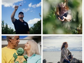 Mat and Melissa Vaughan (top), John and Jan Everett (bottom left), and Holly Anderson (bottom right), all of Norfolk County, were featured in a photo documentary series focused on protecting Lake Erie. Handout/Colin Boyd Shafer/Environmental Defence