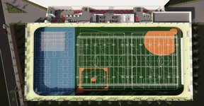 In late October, elected officials voted 7-2 in favour of selecting the all-in $90-million design for the proposed field house. Councillors Linton Delainey and Glen Lawrence voted against it. On Nov. 24, council approved $5 million from reserves to pay for a detailed design. Graphic Supplied