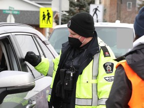 Greater Sudbury Police carry out a spot check on the weekend as the Festive RIDE campaign got underway.
