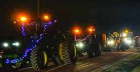 Over 200 farmers, neighbours and friends pulled together to fulfill Brian Fried's wish to see a lighted Christmas tractor parade