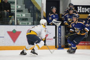 The Fort McMurray Oil Barons face off against the Grande Prairie Storm in the first round of the playoffs on Thursday, March 7, 2019. Laura Beamish/Fort McMurray Today/Postmedia Network