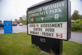 The COVID-19 assessment centre at Oakridge arena is open by appointment only after the second wave created long lineups and early closings. (Derek Ruttan/The London Free Press)