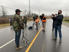 Skyler Williams held a small news conference Thursday at the barricade of the protest site that's been dubbed Land Back Lane in Caledonia.