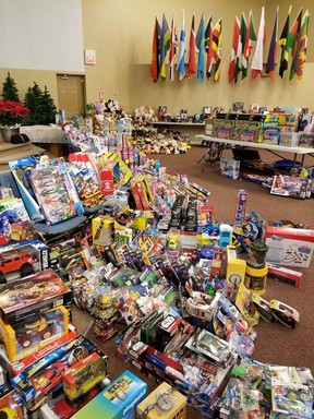 This 2019 photo shows off a portion of donations received by the Whitecourt Christmas Hamper program. The committee has put out boxes to start collecting items for this year.