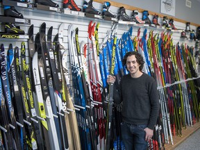 Patrick Gallagher is the manager of Trail Sports, located at the Canmore Nordic Centre. He says there has been an unprecedented interest in cross-country ski equipment this year due to the pandemic. photo by Pam Doyle/www.pamdoylephoto.com