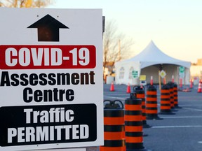 Loyalist College students will build a winter shelter for Trenton's COVID-19 assessment centre, above. They're already at work on one for the Belleville centre.