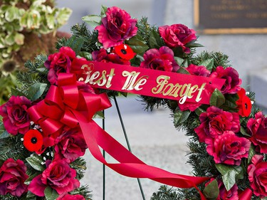One of several wreaths laid by dignitaries at the Brant County War Memorial in downtown Brantford on Wednesday morning. Brian Thompson/Brantford Expositor/Postmedia Network