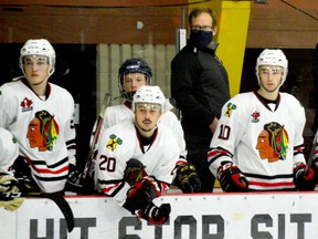 The Brockville Braves bench during a recent scrimmage with the Cornwall Colts at the Memorial Centre. (FILE PHOTO)