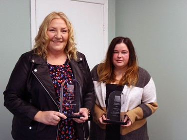 Laura Jarvis and Marianne Vanderlaan with the Innovation Award.Handout/Cornwall Standard-Freeholder/Postmedia Network  Handout Not For Resale