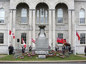 A small, by-invitation ceremony marked Remembrance Day in Napanee at the cenotaph in front of the Lennox and Addington County Court House on Wednesday. (Meghan Balogh/The Whig-Standard)