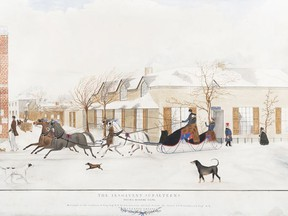 """Sir Edmund Yeamans Walcott Henderson's """"The Insolvent Subalterns Paying Morning Visits,"""" 1843, watercolour on paper, at Agnes Etherington Art Centre."""