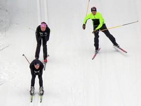 Skiers complete a training run at the North Bay Nordic Ski Club in North Bay in this file photo. The club expects to be able to operate this winter with few issues, although there will be limitations on the number of people allowed in the clubhouse at any one time. Nugget File Photo