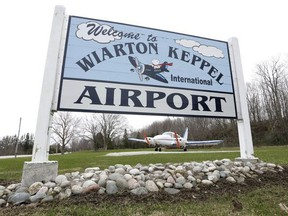 An entrance sign at the Wiarton Keppel International Airport is seen in this file photo.