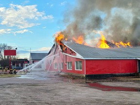 A fire which started in the attic of the former Red Bargain Barn building on Pembroke Street West spread quickly through the predominantly wooden structure on Nov. 9. The Pembroke Fire Department battled the blaze for nine hours.