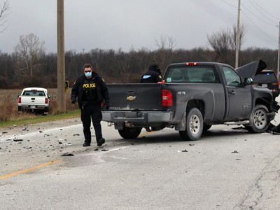 Two pickup trucks collided at the intersection of Brigden and Plank roads on Tuesday November 17, 2020 in St. Clair Township, Ont. Terry Bridge/Sarnia Observer/Postmedia Network