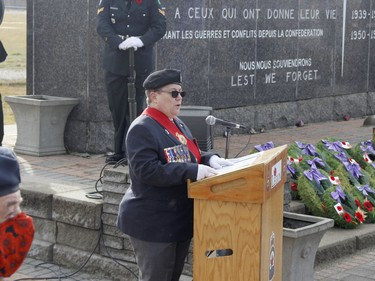 Timmins Legion's commander and Sergeant-at-arms Andréa Villeneuve expressed thanks to all veterans while addressing those in attendance at the Remembrance Day ceremony held in Timmins Wednesday.  RICHA BHOSALE/The Daily Press
