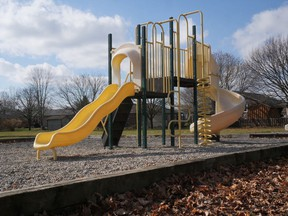 The old playground equipment at the Glendale Park, Allen and Christie Streets in Tillsonburg, has been scheduled to be removed and will be replaced by next spring. The swings, which are newer, will remain. (Chris Abbott/Norfolk and Tillsonburg News)