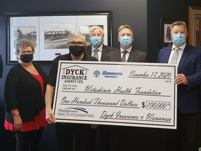Last week, Wetaskiwin Health Foundation executive director John Strong and board members Shirley Lindahl and Bill Elliot accepted a $100,000 donation from Dyck Insurance and Wawanesa representatives Frank Dyck, Mark Dyck, Rob Dyck and Cam Dyck to complete upgrades on the two trauma rooms in the Wetaskiwin Hospital and Care Centre's Emergency Dept.