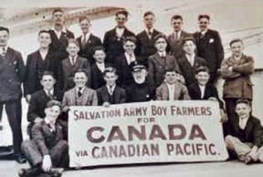 A local author and historian is now looking to hear from people with a connection to the former Burnside Lodge, which housed thousands of people coming to the area in the 1920s and '30s to help with farming. A photo of Immigrant boys newly arrived in Canada. (Handout)