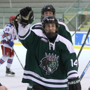 Tyler Kutschinski and the Sherwood Park U-18 AAA Kings have certainly seen a lot of offence in the six games that they have squeezed in before the sporting shutdown. Those six games saw a total of 73 goals scored. Photo courtesy Target Photography