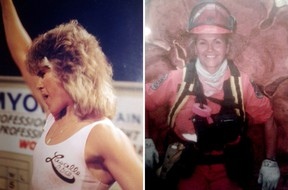 Christine Jaworski in competition, left, and in her role as a firefighter.