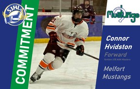 Tisdale's Connor Hvidston has committed to the Melfort Mustangs for the 2021 season.