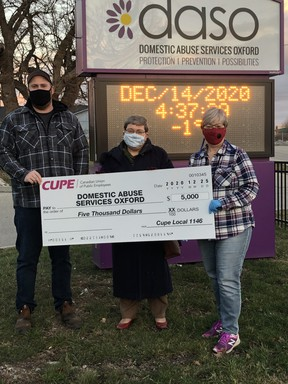 Members of CUPE 1146 made donations of $5,000 each to Domestic Abuse Services Oxford (pictured), The Inn and Operation Sharing on Monday. (Courtesy CUPE 1146)
