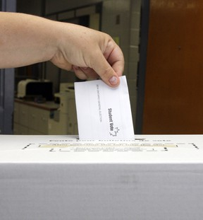 A recommendation that Sarnia use a combination of online and paper ballot voting in the 2022 municipal election was tabled until what it'll cost is made clear. File photo/Postmedia
