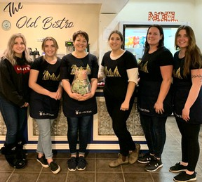 After a 14-hour marathon of busy coffee making, Alecia Heck (who donated two days of gel nail services to the campaign), Thea Heck, Nicole Heck, Shay Elliott, Amber Wild, and Alena Woodside were a little worse for wear but proud of the donations The Old Bistro brought in.