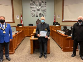 Allan Livingstone received the 2020 'Senior of the Year' award in the Goderich Council Chambers on Dec. 14. Joining Livingstone was John Grace, Mayor of Goderich (left) and Richard Madge, member of the board of directors at the MacKay Centre, and who put the nomination forward (right). Submitted