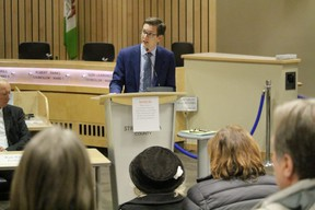 During the Fair Deal Panel's visit to the Park on Feb. 12, local MLA Nate Glubish outlined getting a fair deal is about standing up for Alberta against Prime Minister Justin Trudeau and special-interest groups, who are trying to land-lock economic interests. Lindsay Morey/News Staff