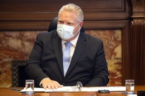 Ontario Premier Doug Ford speaks during a COVID-19 meeting at Queen's Park in Toronto on Dec. 4.