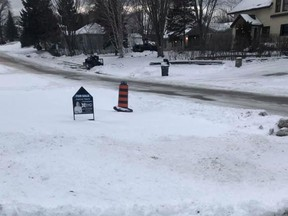 The Infrastructure Services Department has removed the fence that surrounded numerous potholes during the summer and placed a pylon in its place. TP