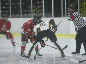 The puck drops on an EOJHL developmental scrimmage between the Brockville Tikis and Athens Aeros at the Memorial Centre on Wednesday, Dec. 16. The Jr. B league announced on Monday that commissioner Sean Marcellus had stepped down. File photo/The Recorder and Times