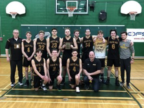 The Rideau District High School Lions won the consolation final of the Ontario boys basketball A championships in North Bay in March. The Rideau crew included (front, from left) Cameron Scott, Hayden Burns, Brady Scott, assistant coach Tom Burns, (back row) head coach Scott Burns, Hunter Bresee, Cameron Dowsley, Brett Wells, Kyle Ewart, Lucas Burns, Blain Wells, Silas Burns, Curran Westwater and assistant coach Jesse Burns. Submitted/file photo/The Recorder and Times
