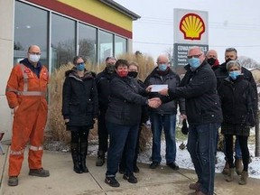 Don Edward, General Manager at Edward Fuels, and the Edward Fuels team present a cheque to Trish Harris with Huron-Perth Children's Aid Society. Submitted