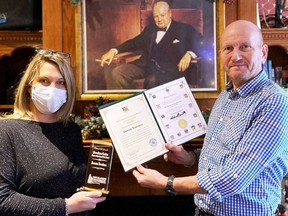 The 1,000 Islands Gananoque Chamber of Commerce Humanitarian of the Year award was presented to Darren Towriess by Amy Kirkland, executive director of the Chamber. Supplied by George Horton