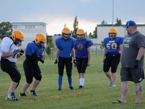 The Wetaskiwin Warriors female team was back on the field for practice at the Sacred Heart School football field. Christina Max