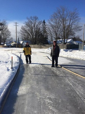 On December 29, some Lions Club members were out in the cold watering the Espanola track outside the Complex. The only thing growing in this frigid, freeze is the skating ring around the track that will be ready very soon, said Grant Lewis.  The gravel track has been groomed by the town plows after the past few snow storms, plowing and packing down the snow to make for a solid base for the ice.  Now comes the time consuming job of flooding and making sure the ice surface will be smooth for all the skaters anxiously awaiting the outdoor ice skating location.