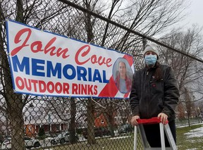 Leigh Cove helped install the rinks and signs this year at Victoria Park. To honour her late father's memory, the rinks were renamed the John Cove Memorial Outdoor Rinks. Submitted
