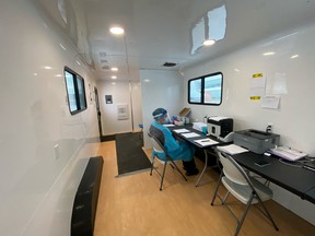 With contracted services by ACESO Medical, AHS' mobile COVID-19 testing sites include three trailers that are insulated, have proper ventilation, and are wheelchair accessible. There are three test collectors and three support staff on-site. Photo Supplied