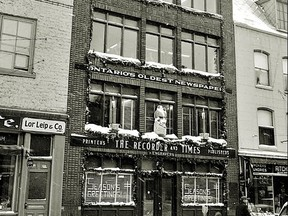 The Recorder and Times building at 23 King Street West, show here in 1959, was its home for 83 years. Recorder and Times files