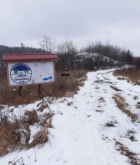 The snowmobile trail south of Espanola's Canadian Tire store is waiting for a desperately needed coat of fresh snow.