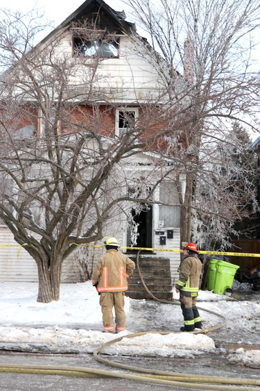 Fire scene at 266 Albert St. W., in Sault Ste. Marie, Ont., on Tuesday, Jan. 26, 2021. (BRIAN KELLY/THE SAULT STAR/POSTMEDIA NETWORK)