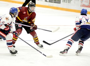 The Timmins Rock have traded blue-liner Brendan Boyce, shown here in action during a game against the Rayside-Balfour Canadians at the McIntyre Arena on Nov. 28, to the AJHL's Whitecourt Wolverines. Boyce was second in scoring among NOJHL blue-liners at the time of the trade and had been named the league's top D-man in December, after being as runner-up for the award in November. THOMAS PERRY/THE DAILY PRESS