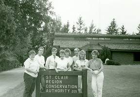 SCRCA staff members pose in front of the St. Clair Region Conservation Authority administration office in Strathroy in the early 1980s. The SCRCA is marking its 60th anniversary this year. Handout